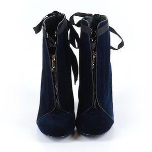 Zara Navy Blue Velvet Boots